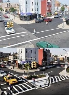 Transformation of a crossing on Humboldt St, Williamsburg, Brooklyn. Click image to tweet and visit the slowottawa.ca boards >> http://www.pinterest.com/slowottawa/