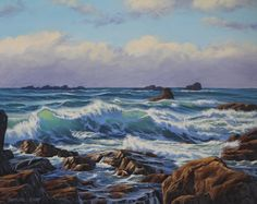 "This painting is based on the wild sea on Guernsey's west coast. This Island of Guernsey is located within the English Channel and is where I was born. I love the Guernsey coastline with its beautiful beaches, rugged cliffs and rich turquoise blue sea. On this particular afternoon in which this painting is based on, there had been a passing storm and strong westerly winds that had whipped up a heavy swell, a great subject for seascape paintings. Oil on canvas, 20"" x 16"""