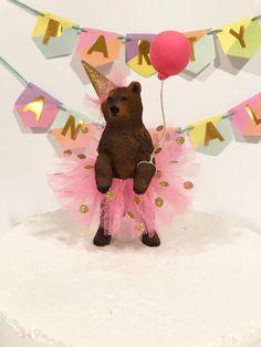Princess Birthday Bear Cake Topper, Grizzly Bear Cake Topper, Ballerina Bear Cake Topper, Animal Birthday Cake Topper, Grizzly Bear In Tutu - birthday Cake White Ideen Animal Themed Birthday Party, Animal Birthday Cakes, Bear Birthday, Birthday Cake Toppers, 2nd Birthday Parties, Princess Birthday, Birthday Table, Party Animals, Animal Party