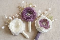 Wedding Boutonniere Vintage Flower Boutonniere by BelleBlooms