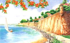 Protected Water by Anne Miller, x watercolour print Watercolor Print, Watercolours, Caribbean, Boats, Sea, Painting, Ships, Painting Art, The Ocean