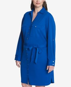 Tommy Hilfiger Plus Size Belted Shirtdress, Created for Macy's - Blue 20W