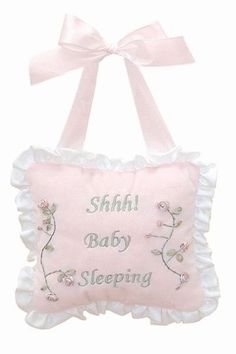 """This sweet sleeper pillow from Bearington Baby tells guests to enter quietly with the embroidered words, """"Shhh Baby Sleeping"""" This darling pillow is a wonderful accessory to the Baby Bearington """"Bunny"""" collection and measures 7"""" x7."""""""