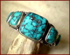 Morenci Turquoise is mined in southeastern Arizona. It is high to light blue in color.