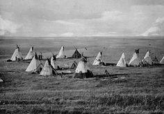 Cree Nēhiyaw camp near Vermilion, Alberta, in 1871 - photo by Charles Horetzky
