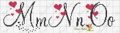 ENCANTOS EM PONTO CRUZ: Monograma em Ponto Cruz de Coração Cross Stitch Alphabet Patterns, Embroidery Alphabet, Cross Stitch Letters, Cross Stitch Borders, Cross Stitch Baby, Embroidery Fonts, Cross Stitch Designs, Cross Stitching, Cross Stitch Embroidery