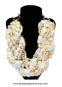 The most romantic and stunning vintage-inspired statement necklace....all handmade with love, all one-of-a-kind, and all by {jewelry by jessica theresa}! Fall in love with J by JT! www.jewelrybyessicat.etsy.com  GRAND TWISTED Statement Necklace Ivory Beige by JewelryByJessicaT,