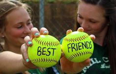 To do with Shelbey and Brianna Softball pictures Softball Room, Softball Drills, Softball Crafts, Softball Shirts, Softball Players, Girls Softball, Fastpitch Softball, Softball Stuff, Softball Cheers