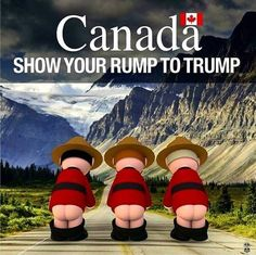 From Canada. Our weapons of mass destruction aimed at your orange pumpkin king du jour. Canadian Things, I Am Canadian, Canadian Humour, Canadian Memes, Canada Funny, Canada Eh, Canada Jokes, Mexico City Restaurants, That Way