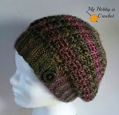 You will need one skein of Red Heart Boutique Unforgettable to make this ribbed slouch hat.