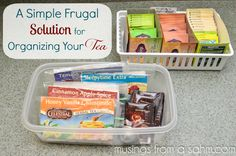Not really a recipe, but a super spiffy idea for my tea! A Simple, Frugal Solution for Organizing Your Tea Crafts For Teens To Make, Diy For Teens, Crafts To Sell, Easy Crafts, Diy And Crafts, Dollar Store Crafts, Dollar Stores, Tea Organization, Organizing Ideas