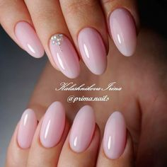 Best Ideas to Make Your Oval Nails Even More Gorgeous - Nails - Cute Nails, Pretty Nails, My Nails, Pink Wedding Nails, Wedding Makeup, Almond Shape Nails, Nails Shape, White Almond Nails, Short Almond Nails