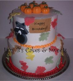 Fall Birthday Cake Fall Birthday Cakes, Fall Birthday Parties, Happy Birthday, Sweets, Party, Desserts, Food, Autumn Birthday Parties, Happy Brithday