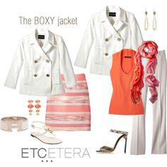 Etcetera   Summer 2015: OYSTER white jacket, TRENDY skirt, SEERSUCKER flax and white pant, HILARY top, SPRINGTIME scarf.
