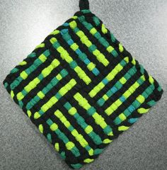 Items similar to Emerald Isle Woven Potholder on Etsy Weaving Art, Weaving Patterns, Loom Weaving, Potholder Loom, Potholder Patterns, Loom Craft, You're Hot, Emerald Isle, Crafts For Girls