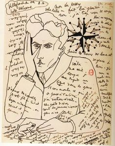 Self portrait by Jean Cocteau in a letter to Paul Valery, October 1924