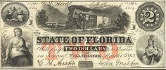 Obsolete Banknote from 1863, before the U.S. printed its own currency. This is from the State Bank of Florida.