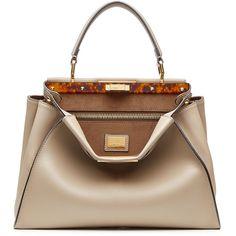 Fendi Peekaboo Leather Tote ($3,915) ❤ liked on Polyvore featuring women's fashion, bags, handbags, tote bags, bolsas, fendi, grey, brown leather handbags, brown tote bag and leather tote bags
