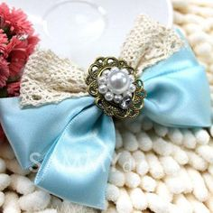 $2.35 Sweet Style Pearl and Lace Embellished Bowknot Shape Hairpin For Women