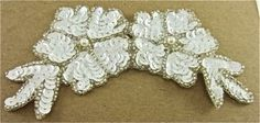 """Flower with White Sequins and Silver Beads 6"""" x 3"""""""