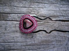 Pink Heart Seed Beaded Nickel Hair Fork by silverdawnjewelry