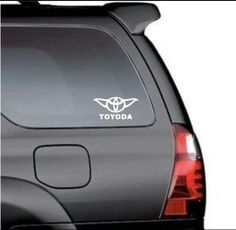 There are plenty of ways to customize your car and add some Star Wars style to it, no matter what kind of car you have. However, this Toyoda Toyota Star Wars Car Window Decals, Car Decals, Vinyl Decals, Take My Money, Star Wars Humor, Car Humor, Geek Chic, Cool Trucks, Cool Gadgets