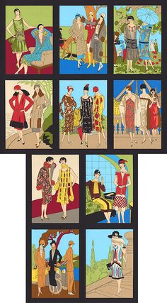 """Glamour Girls - 1920s Vogue Girls - Bright - 24"""" x 44"""" PANEL - Quilt Fabrics from www.eQuilter.com"""