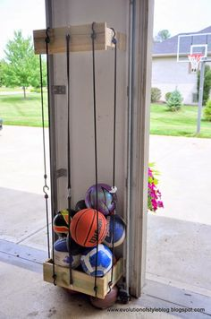 garage storage ball holder garage ball storage home design ideas and pictures ru – Garage Organization DIY Garage House, Diy Garage, Garage Doors, Garage Organization, Garage Storage, Organization Ideas, Storage Ideas, Storage Racks, Shoe Storage Solutions