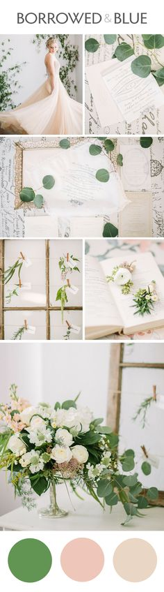 Neutral wedding palette, beige, greenery, peach undertones, wedding design, vintage accents // Retrospect Images