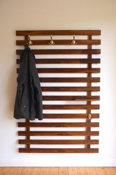 possible diy large danish modern wall mounted coat rack hooks rosewood slats satin brass and small shelf sold email white bathroom tiles cool furniture rectangle mirror paint Hallway Coat Rack, Wall Mounted Coat Rack, Coat Hooks On Wall, Wall Coat Rack, Diy Coat Hooks, Diy Wall Hooks, Brass Coat Hooks, Rack Shelf, Wall Hanger