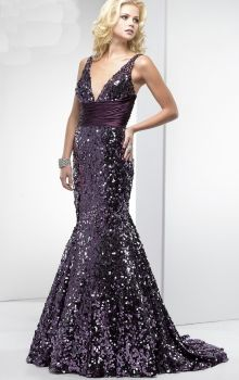 Grape Mermaid/Trumpet V-neck Natural Long/Floor-length Sleeveless Sequins Sweep/Brush Train Prom Dresses Dress