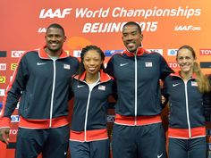 U.S. team members team members David Oliver (110-meter hurdles), Allyson Felix (400), Christian Taylor (triple jump) and Jenny Simpson (1,500) at a news conference Friday in advance of the start of the 15th IAAF World Track and Field Championships in Beijing.  Kirby Lee, USA TODAY Sports