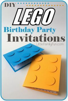 How to make Lego Party Invitations. Perfect for a Boy Birthday Party!You can find Lego invitations and more on our website.How to make Lego Party Invitatio. Lego Party Invitations, Invitation Fete, Lego Batman Invitations, Handmade Invitations, Birthday Invitations Kids, Invitation Wording, Invites, Wedding Invitations, 6th Birthday Parties