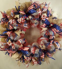 4th of July Deco Mesh Wreath by KristinsDecoMesh on Etsy