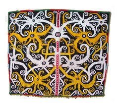 Beadwork used to decorate a baby-carrier.  Kenyah-Kayan Dayak group, East Kalimantan or Upper Mahakam river area, Borneo, Indonesia.  late 19th or Early mid-20th century. (34x39cm) #indonesia