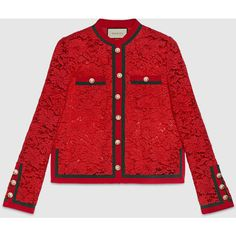 Gucci Lace Jacket With Web ($3,200) ❤ liked on Polyvore featuring outerwear, jackets, red, gucci, red jacket, red lace jacket, gucci jacket and lace jacket