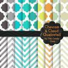 Free Chevron and Cloud Quatrefoil Digital Paper Backgrounds Home Tones