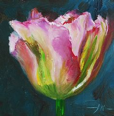 """Pink Tulip"" oil on wood, size 10 x 10 cm for sale for Euro + . Tulip Painting, Flower Painting Canvas, Diy Canvas Art, Acrylic Flowers, Alcohol Ink Painting, Pink Tulips, Angel Art, Watercolor Paintings, Oil Paintings"