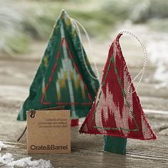 Ikat Stitched Christmas Tree Ornaments | Crate and Barrel