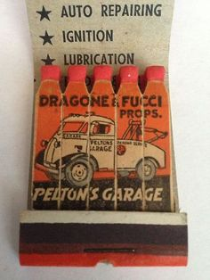 VTG Feature Matchbook Pelton'S Garage Dragone Fucci Props Bridgeport | eBay