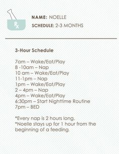 Sample 3 hour schedule for a 2-3 month old. Mine is pretty similar but considering I don't get home till 630 times are a bit different. :)