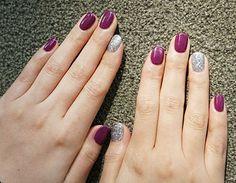 Purple and silver nails Purple And Silver Nails, Silver Nail Art, Autumn Nails, Winter Nails, Gel Nail Art, Gel Nails, Mani Pedi, Manicure, Perfect Nails