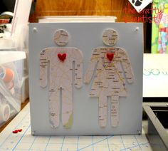 diy couple map silhouette art - this could be a lovely wedding or anniversary gift!