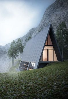 Triangle Cliff House (concept design) by Germany-based architect Matthias Arndt for the design challenge of Lichtect Architecture… Triangle House, Triangle Building, Triangle Window, Small Cottage Homes, Cottage House, Design Exterior, Cliff House, A Frame House, Architecture Design