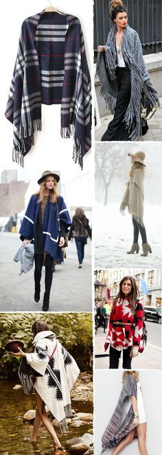 Blanket ponchos are my life Fall Winter Outfits, Autumn Winter Fashion, Diy Fashion, Love Fashion, Look Boho, Knitted Poncho, Diy Clothes, Burberry, Cute Outfits