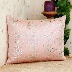 Ultra-Snob Mirror Work Cushion Cover Light Pink