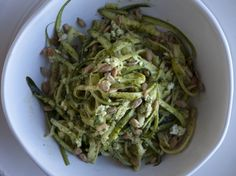 Shauna James Ahern's Zucchini Noodles with Spinach Pesto, Feta, and Sunflower Seeds - Serious Eats