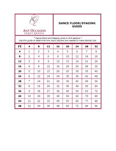 Dance Floor Size Chart Quick Guide To Determine How Many Pieces Needed Make Your
