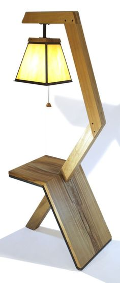 Custom handcrafted floor lamp with built-in side table.