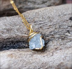 Raw Celestite Necklace  Rough Stone by MermaidTearsDesigns on Etsy